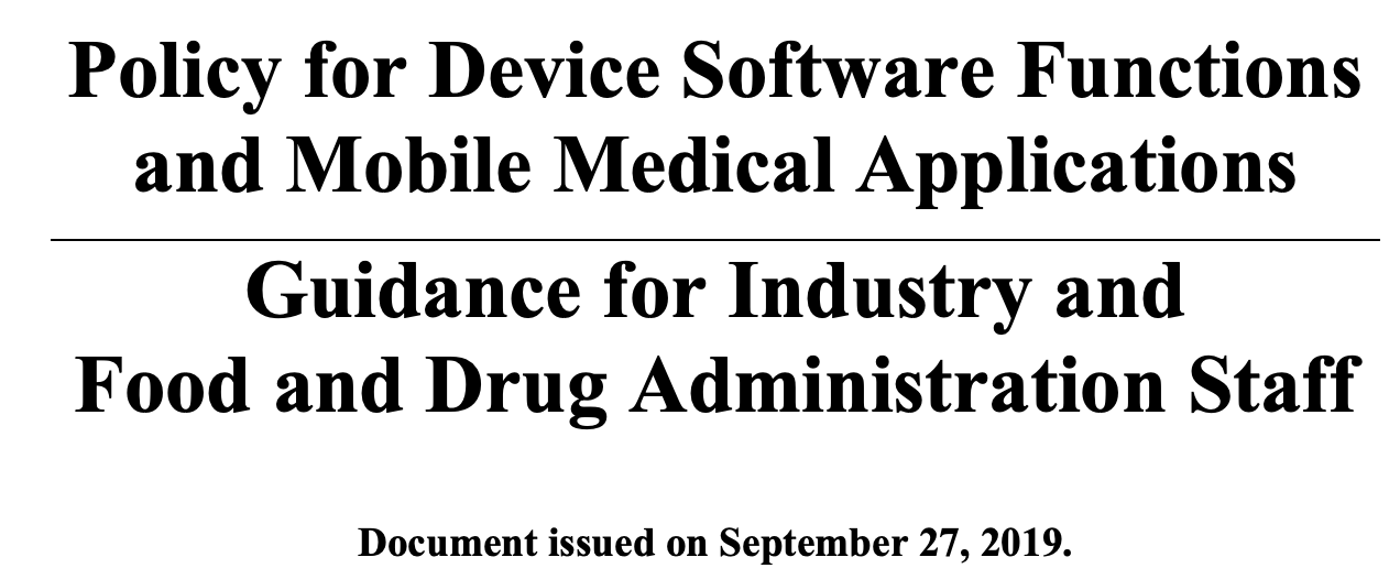 New guidance from FDA on software in orthopedics.